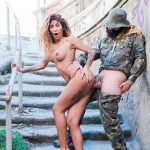 CHICAS LOCA – Curvy Latina bangs and blows soldier in public