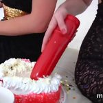 Kinky lesbians fill up their big butts with whipped cream and ejaculate it out