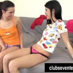 Lesbian teens lick and finger twats