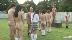 Subtitled uncensored outdoor nudist Japanese school