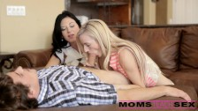 Mom and step son tag team teen hottie
